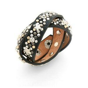 Leather Star Double-Wrap Snap Bracelet